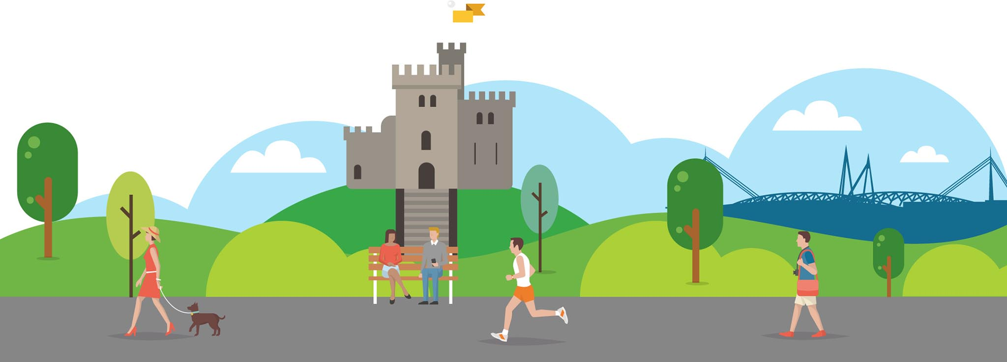 Cardiff castle with people running